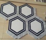 Украшенная мозаика черной смешанной белой конструкции шестиугольника Carrara белой мраморный водоструйная