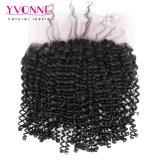 Natürliche Farbe Yvonne-des verworrenen lockigen Haar-360 Spitze-frontalen 22.5*4