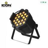 El zoom a la par de LED de luz para el escenario con 18x18W RGBWA+UV