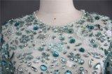 O cristal de perolização pesado apedreja a luz - vestido de noite longo azul das luvas