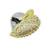 Clé de mémoire USB en cristal de bijou en métal de la forme USB Pendrive de coeur