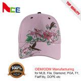 Casquette de baseball 100% plate de coton d'Embriodery de fleur de constructeur d'ODM de Guangzhou