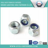 La norme DIN 985 Anneau blanc/anneau bleu en nylon auto-Écrou de blocage de l'écrou de blocage en Nylon