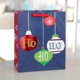 La navidad azul Circular bolsa de papel Ho Ho Ho, bolsa de papel de regalo