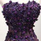 Пурпуровое отбортовывая платье вечера мантии Bridesmaid выпускного вечера цветка