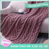 中国の暖まる膝の投球ケーブルはがっしりしたニット毛布を模造する