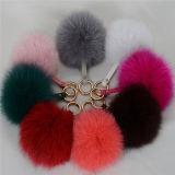 工場卸し売りキツネの毛皮のポンポンのKeychainのキツネの毛皮の球Keychain