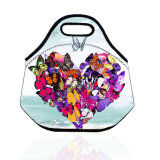 sac portatif coloré de déjeuner de Neopren d'emballage de sac de déjeuner de pique-nique d'école de travail de course de guindineau de paon du dessin animé 3D pour des gosses de femmes