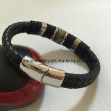Het Roestvrij staal van de Juwelen van het lichaam ontzet de Geweven Armband van de Kabel van het Leer (BL2845)