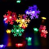 La energía solar colorida del copo de nieve encadena las luces - iluminación casera del ambiente del partido del paisaje de la yarda de Gardern de las decoraciones de los árboles de la luz de la Navidad del día de fiesta de la boda del partido