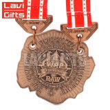 リボンが付いている多様な楕円形のスポーツの水泳の金の金属の記念品賞の円形浮彫りメダルを投げる最も熱いカスタム亜鉛合金