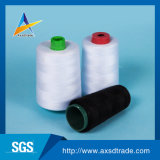 Hilados de polyester hechos girar fibra de la Virgen hilo de coser de la torcedura sin procesar del blanco Z del 100 por ciento