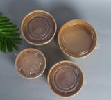 Tazón de artesanía de proa Conatainer Paperbowl Ensalada tazón ecológica de Alimentos Kraft Ensaladera biodegradables Contenedor de papel Kraft Bowl