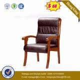 Mobiliário de escritório de estoque Corpo preto cadeira de visita em couro de madeira (Ns-CF032)