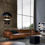 Lumière sur le sofa de cuir de meubles