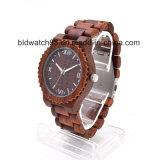 Мужчин деревянные кварцевые часы круглые набор аналоговых Wristwatch из дерева ручной работы