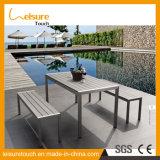 정원 옥외 식사 가구를 위한 고리버들 세공을%s 가진 대부분의 대중적인 고대 작풍 주조 알루미늄 테이블 세트