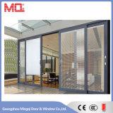 Puerta deslizante de aluminio con el vidrio del doble de la pieza inserta de las persianas