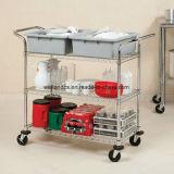 Многофункциональная вагонетка кухни провода хромовой стали с корзиной для гостиницы