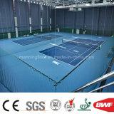 淡いブルーの屋内PVCロールはテニスコートの体操のLichiパターン4.5mmのための床を遊ばす