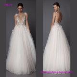 Das Form-Vordere wulstige tiefe V-Stutzen Hochzeits-Kleid mit Blumen 3D