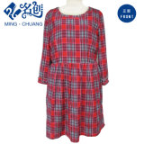 Newstyle Red Rayon Plaid Long Sleeve Round Collar Robe mignonne