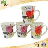 Yuanmeiソースの陶磁器の新しい骨灰磁器の円形のステッカーの花のコーヒー・マグ