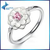 Nieuwe Vrouwen 925 van de Manier de Zilveren In het groot Ring van de Bloem van de Diamant van Juwelen Roze