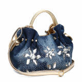 Gorgeous Rhinestones Denim Ladies Tote Handbag (MBNO040036)