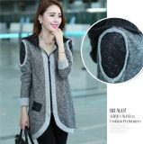 Пальто корейских женщин высокого качества способа вскользь длиннее с капюшоном