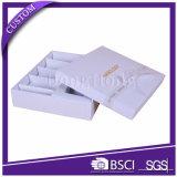 Caixa de cosméticos de papel branco de luxo liso com inserções de bandeja