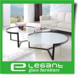 Mesa de mesa de vidro redondo temperada de cristal de estilo moderno com base de ferro pintada com placa preta