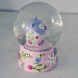 Globo animal da neve da coruja da resina do OEM para Deco Home