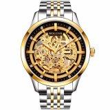 Relojes Hombreの人はSteampunkの金の贅沢なブランドの上の有名なステンレス鋼が防水骨組方法を紐で縛るのを見る