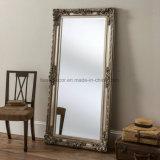 Décoration de mur à ossature de bois Plancher surdimensionné Grand miroir