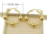 Pendiente del oro del laminado del espárrago del oído del acero inoxidable de la alta calidad de la joyería de Shineme (ERS6968)