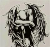 Etiqueta engomada temporal impermeable del tatuaje de la pierna del brazo de la carrocería del ángel que cae