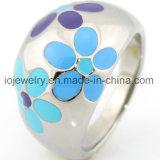 Diseño colorido de la flor del anillo del acero colorido del esmalte