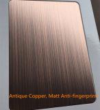 銅のヘアラインサテン仕上げのステンレス鋼装飾的なシートの版