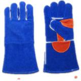 Erstklassiger Kuh-aufgeteiltes Leder-Verstärkungspalmen-Schweißer Glove-6515