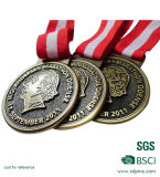 赤くおよび白いリボン(W-65)が付いている安く旧式な銅メダル