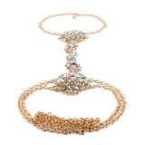 ファッション・デザイナーの多彩なラインストーンの花の水晶ダイヤモンドの鎖ボディ宝石類