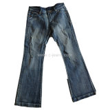 De Jeans van de Besnoeiing van de Laars van de rek met Besnoeiing en Naaiend Denim Jean