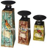 MDF dell'oggetto d'antiquariato dell'annata di disegno dell'uccello della molla S/3 di legno/supporto di candela di carta del trapezio decalcomania del metallo