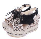 2012 Hiel Sandals van de Wig van de Ruggegraat van de Riem van de Luipaard de DwarsStro Geweven (Abrikoos sy-C0390)