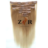 薄い色の人間の毛髪の拡張の自然な引かれたインドのヘアークリップ