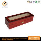 6 Caja de madera de cerezo Ver Expositor y organizador de almacenamiento