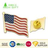 卸し売りカスタム安い金属の会議のための鉄によって押される堅いエナメルのエポキシの米国旗の折りえりPin