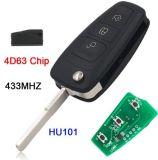 Touche de télécommande 3 boutons 433MHz voiture Smart Key Fob avec 4D63 Puce pour Ford Mondeo Transit Connect Focus Mk1 Hu101 lame non coupée