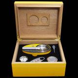 가습기 & 습도계 (ES-EB-007)를 가진 Cohiba 노란 삼목 여송연 담배 저장 상자 상자